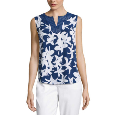 Liz Claiborne® Sleeveless Print Shell