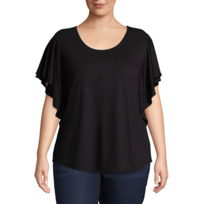 Boutique + Flutter Sleeve Scoop Neck Blouse - Plus