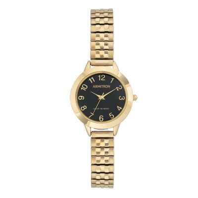 Armitron Womens Gold Tone Bracelet Watch-75/5562bkgp