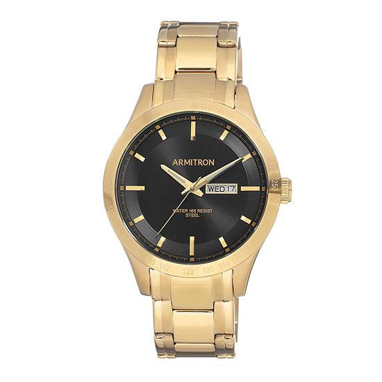 Armitron Mens Gold Tone Bracelet Watch-20/5174bkgp