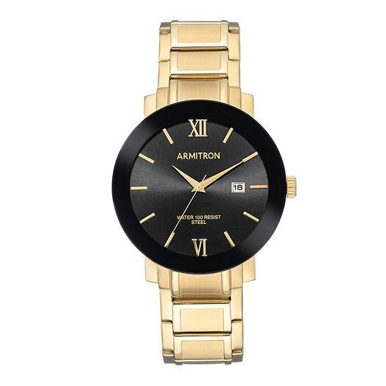 Armitron Mens Gold Tone Bracelet Watch 20 5273bkgp