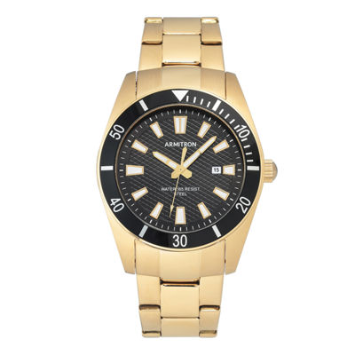 Armitron Mens Gold Tone Bracelet Watch-20/5276bkgp