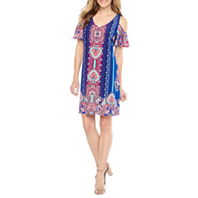 MSK Short Sleeve Cold Shoulder Scroll A-Line Dress
