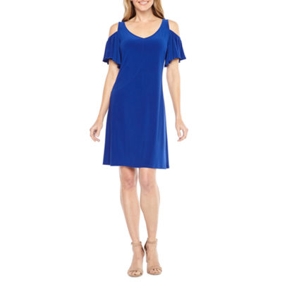 MSK Short Sleeve Cold Shoulder A-Line Dress