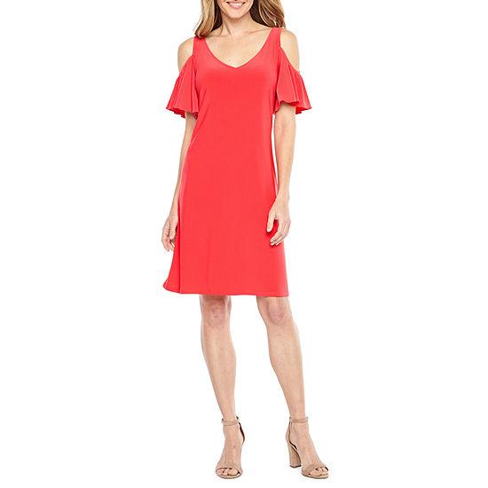 MSK Short Sleeve Cold Shoulder A-Line Dress
