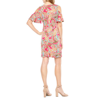 Ronni Nicole Short Sleeve Cold Shoulder Paisley A-Line Dress