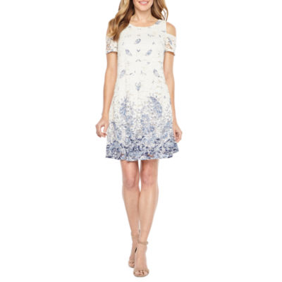 Robbie Bee Short Sleeve Cold Shoulder Lace Paisley Floral A-Line Dress