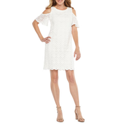 Ronni Nicole Short Cold Shoulder Sleeve  Lace A-Line Dress