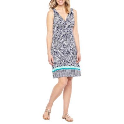 St. John's Bay Sleeveless Paisley A-Line Dress