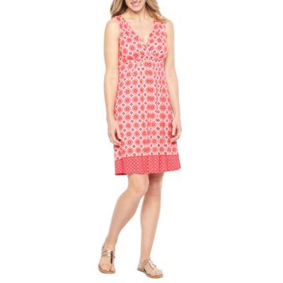 St. John's Bay Sleeveless Bordered A-Line Dress