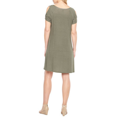 St. John's Bay Short Sleeve Cold Shoulder A-Line Dress