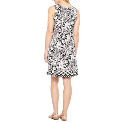 St. John's Bay Sleeveless Bordered A-Line Dress