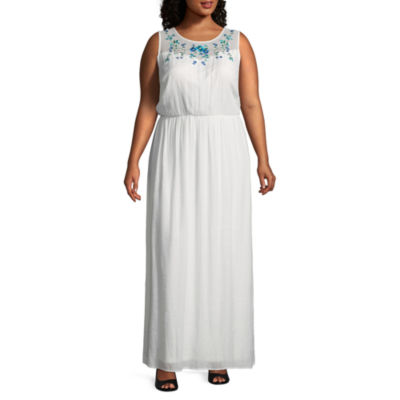 Alyx Sleeveless Floral Embroidered Maxi Dress - Plus