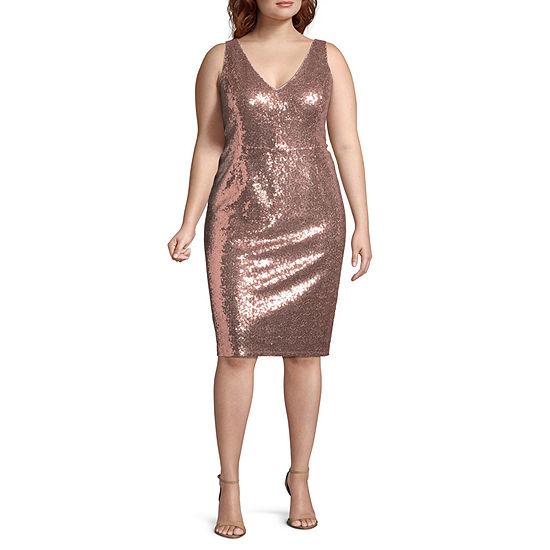 Blu Sage Sleeveless Sequin Cocktail Dress - Plus