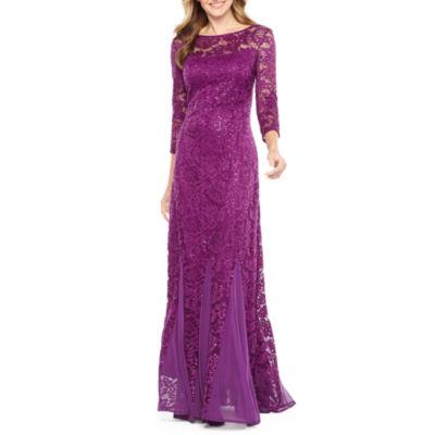Blu Sage 3/4 Sleeve Evening Gown