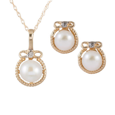 Splendid Pearls Diamond Accent White Cultured Freshwater Pearl 14K Gold 2-pc. Jewelry Set