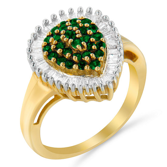 Womens 1 Ct Tw Genuine Green Emerald 10k Gold Cluster Cocktail Ring