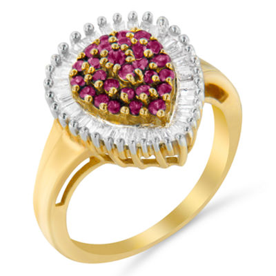 Womens 1 CT. T.W. Red Ruby 10K Gold Cluster Ring