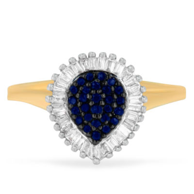 Womens 1/2 CT. T.W. Blue Sapphire 10K Gold Cluster Ring