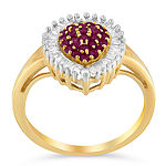 Womens 1/2 CT. T.W. Lead Glass-Filled Red Ruby 10K Gold Cluster Cocktail Ring