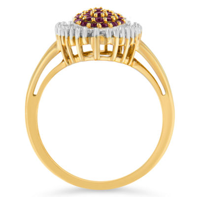 Womens 1/2 CT. T.W. Red Ruby 10K Gold Cluster Ring