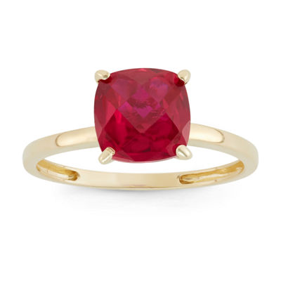 Womens Red Ruby 10K Gold Square Cocktail Ring