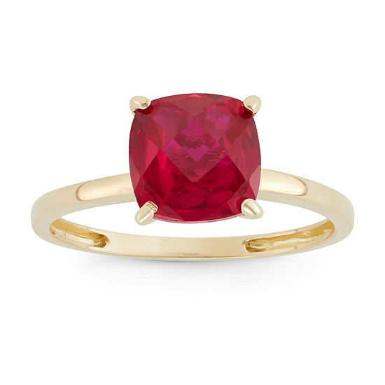 Womens Red Ruby 10K Gold Square Solitaire Cocktail Ring