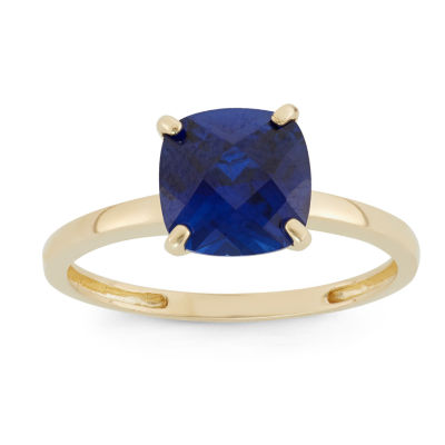Womens Blue Sapphire 10K Gold Square Solitaire Cocktail Ring