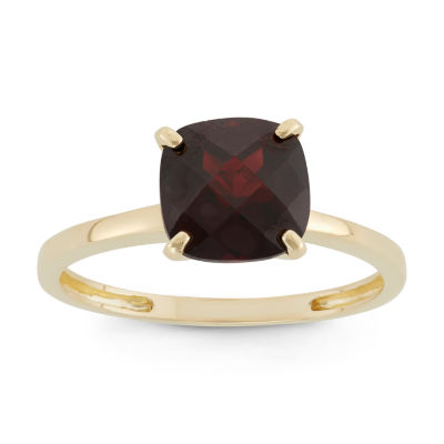 Womens Red Garnet 10K Gold Square Cocktail Ring