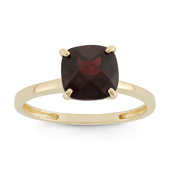 Womens Red Garnet 10K Gold Square Solitaire Cocktail Ring
