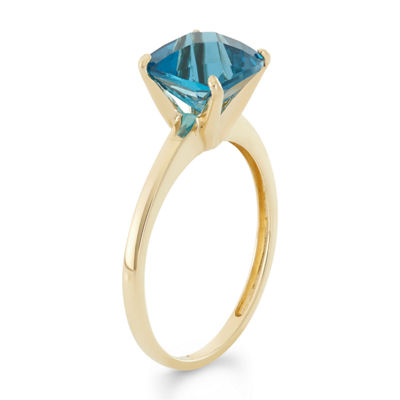 Womens Blue Topaz 10K Gold Square Cocktail Ring