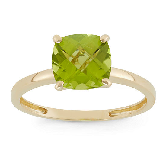 Womens Green Peridot 10K Gold Square Solitaire Cocktail Ring