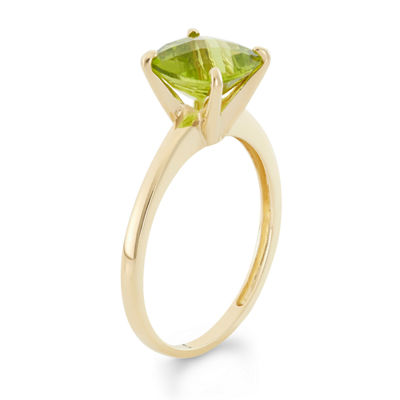 Womens Green Peridot 10K Gold Square Cocktail Ring