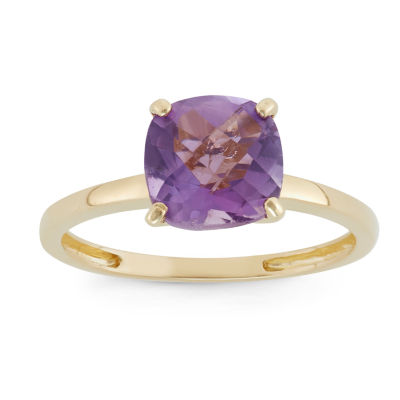 Womens Purple Amethyst 10K Gold Square Solitaire Cocktail Ring