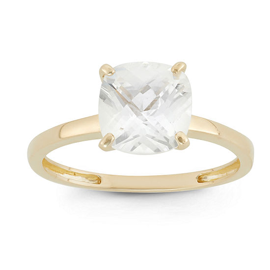 Womens White Sapphire 10K Gold Square Solitaire Cocktail Ring