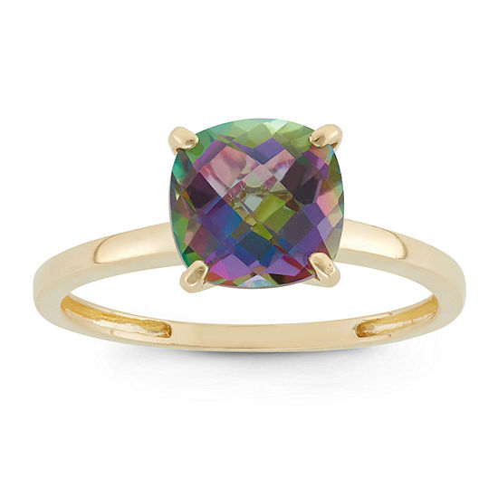 Womens Green Topaz 10K Gold Square Solitaire Cocktail Ring