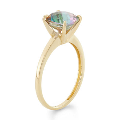 Womens Genuine Green Topaz 10K Gold Cocktail Ring