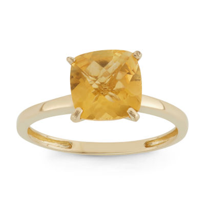Womens Orange Citrine 10K Gold Square Solitaire Cocktail Ring