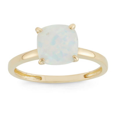 Womens White Opal 10K Gold Square Cocktail Ring