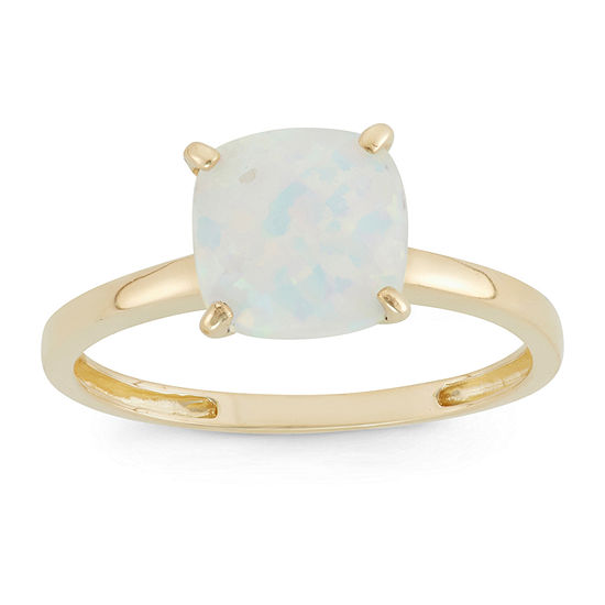 Womens White Opal 10K Gold Square Solitaire Cocktail Ring