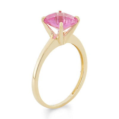 Womens Pink Sapphire 10K Gold Square Solitaire Cocktail Ring