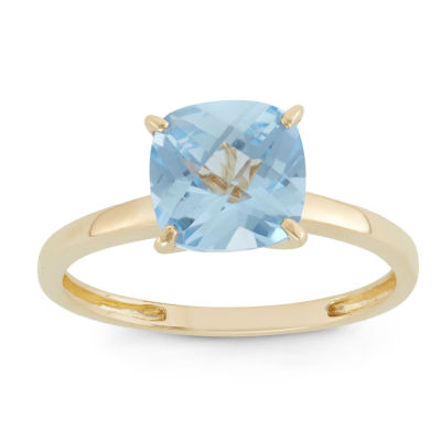 Womens Lab Created Blue Aquamarine 10K Gold Cocktail Ring