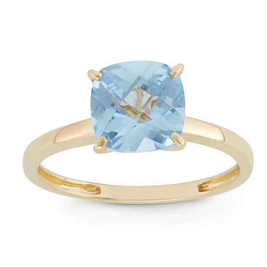 Womens Blue Aquamarine 10K Gold Square Solitaire Cocktail Ring