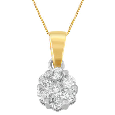 Womens 1/2 CT. T.W. White Diamond 14K Two Tone Gold Pendant Necklace