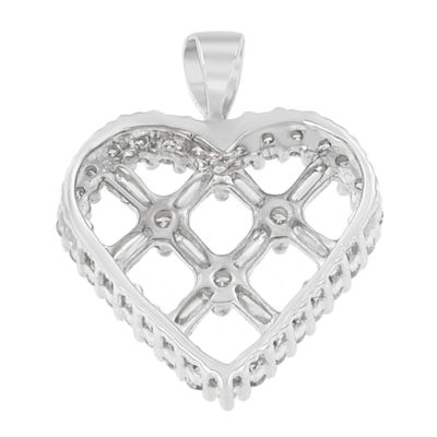 Womens 1 CT. T.W. White Diamond 14K White Gold Heart Pendant Necklace