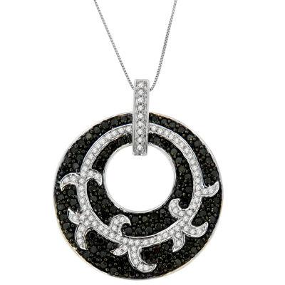 Womens 1 1/2 CT. T.W. White Diamond 14K White Gold Pendant Necklace