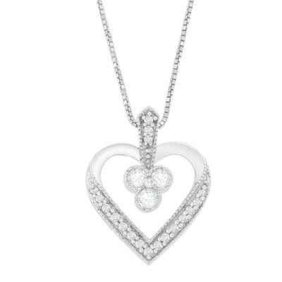 Womens 1/4 CT. T.W. White Diamond 14K White Gold Heart Pendant Necklace