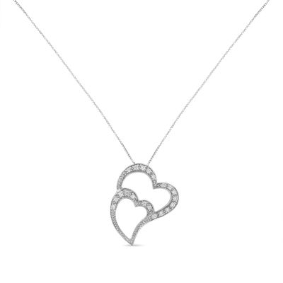 Womens 1/5 CT. T.W. White Diamond 14K White Gold Heart Pendant Necklace