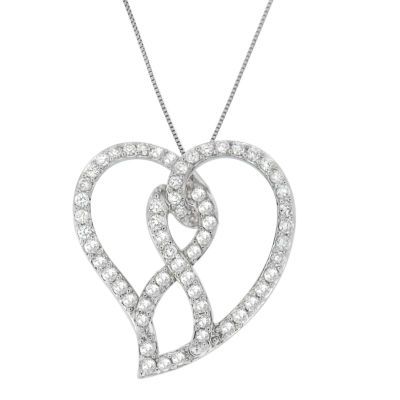 Womens 1 CT. T.W. White Diamond 14K White Gold Pendant Necklace