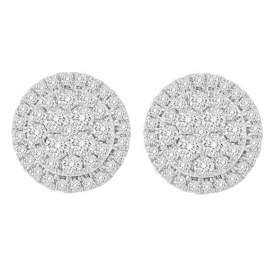 1 1 2 Ct Tw Genuine White Diamond 10k Gold 15mm Round Stud Earrings